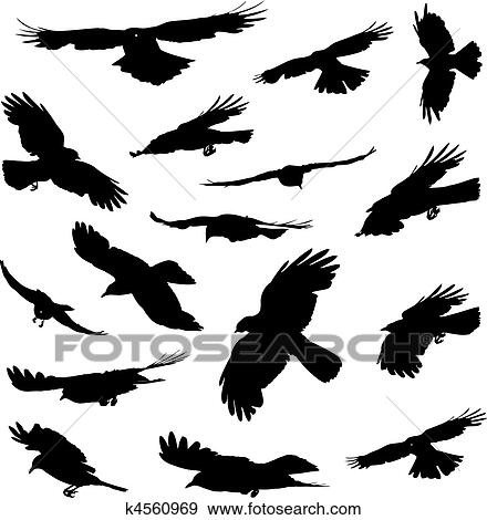 Clip Art Of Birds Flying Silhouettes K4560969 Search Clipart