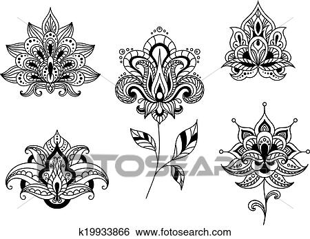 clip art of black and white floral motifs of persian paisleys rh fotosearch co uk