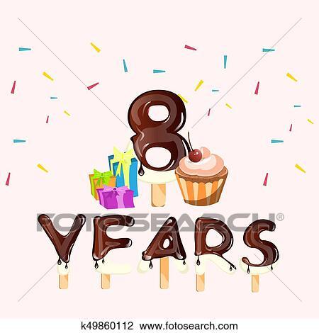 Auguri Buon Compleanno 8 Anni.Buon Compleanno Otto 8 Anni Augurio Card Clipart