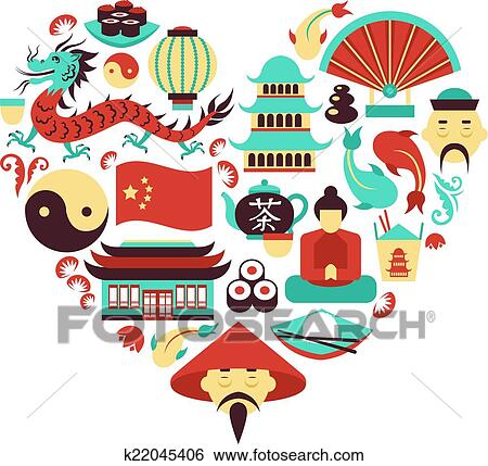 clip art of china symbols heart k22045406 search clipart rh fotosearch com china clipart with transparent background china clip art free