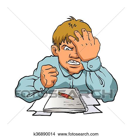 Clipart Frustrated Boy Studying Fotosearch Search Clip Art Ilration Murals