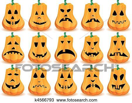 Facce Zucche Di Halloween.Grande Set Di 15 Halloween Zucche Con Bocche Occhi E Nasi Come Cricco O Lantern Faccia Parte 14 Vettore Illustrazione Clipart
