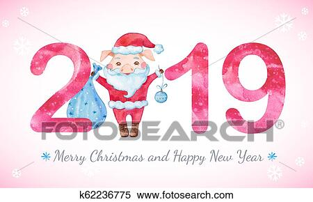 happy new year banner with cute pig and numbers stock illustration k62236775 fotosearch fotosearch
