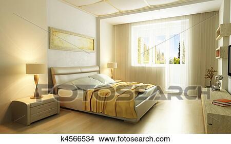 Moderne, style, chambre à coucher, intérieur, 3d Banque d\'Illustrations