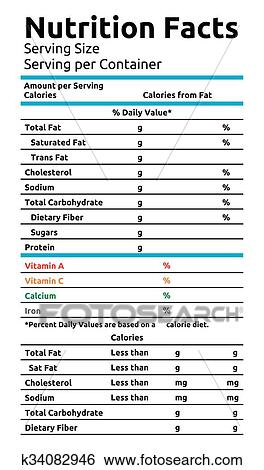 Clip Art Of Nutrition Facts Vector Food Label K34082946