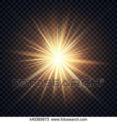 Vector Realistic Starburst Lighting Effect Yellow Sun With Rays And Glow On Transparent Background Bright Star Illuminated Illustration