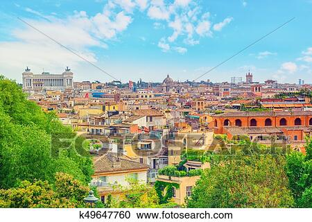 View Of The City Of Rome From Above From The Hill Of