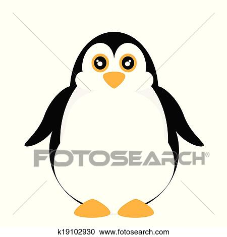 かわいい ペンギン で 青い目 クリップアート切り張り