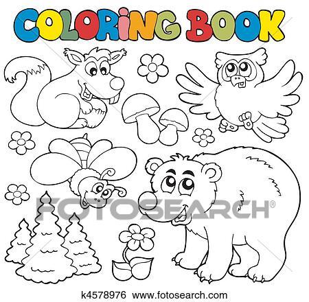 Clip Art Ausmalbilder Mit Wald Tiere 1 K4578976 Suche