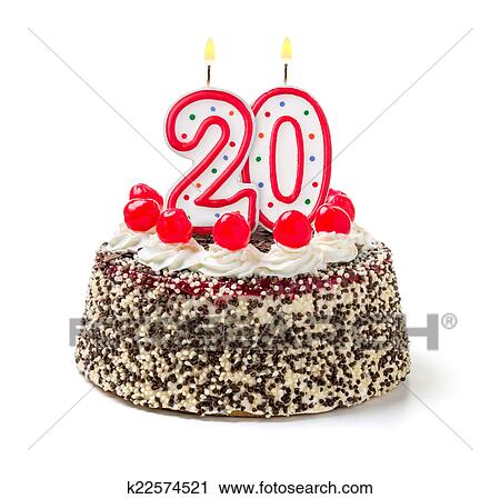 large number 20 birthday candle