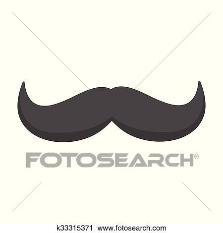 Clipart boucl noir moustache dessin anim k33315371 - Moustache dessin ...