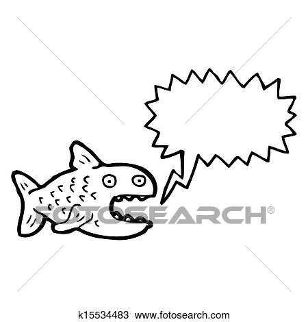 Dibujo - caricatura, piraña, con, burbuja del discurso k15534483 ...