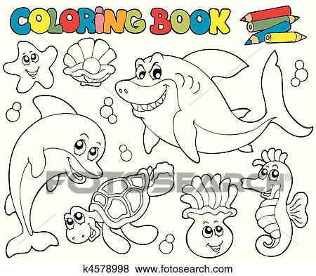 Clip Art of Coloring book with marine animals 2 k4578998 - Search ...