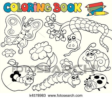 Coloring book with small animals 1 Clipart