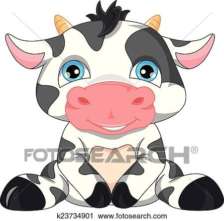 clipart of cute baby cow cartoon k23734901 search clip art rh fotosearch com Pink Cow Clip Art Baby Pig Clip Art
