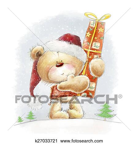 Clipart Noel Ours Peluche A Cadeau K27033721 Recherchez Des