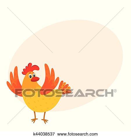 Dessin Animé Poule clipart - rigolote, dessin animé, poulet, poule, surpris, ou, sauter