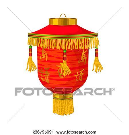 Clipart Rouges Lanterne Chinoise Papier Icone Dans Dessin