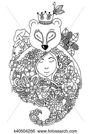 Vektor Abbildung Zentangl Bär Und Dass Mädchen In Blumen Dass Forest Gekritzel Blumen Drawing A Nachdenklich Exercises