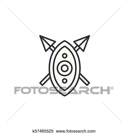African shield spears linear icon concept  African shield spears line  vector sign, symbol, illustration  Clipart