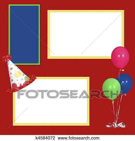 stock photo birthday party scrapbook frame template fotosearch search stock photography print