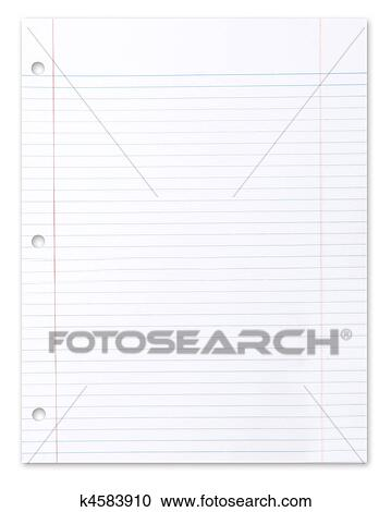 stock illustrations of blank piece of school lined paper on white