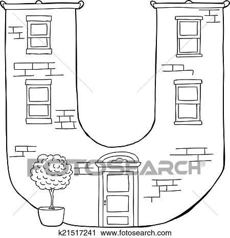 Clipart - carta, u, apartamento, contorno k21517241 - Buscar Clip ...
