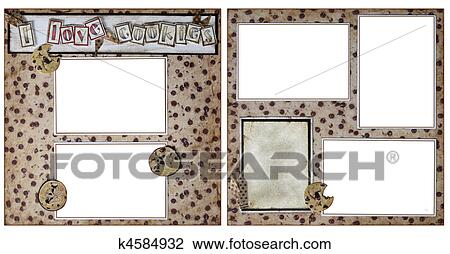 baking cookies square frame scrapbook template insert your photos