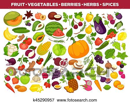 Fruits Vegetables Berries And Spices Vector Icons Set Clip Art