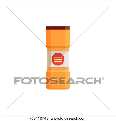 Gelb, plastikflasche, freigestellt, weiß, hintergrund., putzen, service,  logo, wäscherei- reinigungsmittel, und, desinfektionsmittel, produkte, ...