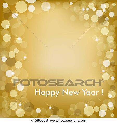 Happy New Year Golden Background With Stars And Text Vector Illustration