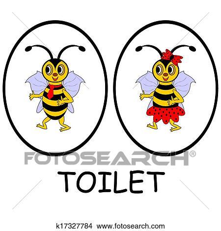 Clipart Mann Frau Toilette Signs Lustig Karikatur Bienchen