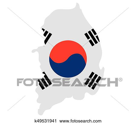 clipart of map with south korean flag k49531941 search clip art