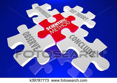 55d17936a4 Archivio Fotografico - metodo scientifico, esperimento scienza, teoria,  puzzle, 3d, illustrazione
