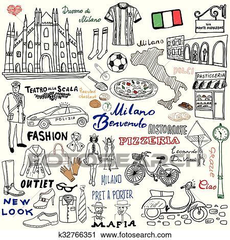 Milan Italy sketch elements doodle Clipart | k32766351 ...