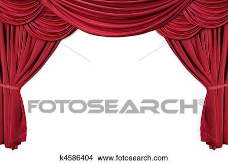Stock Foto - rood, gedrapeerd, theater, gordijnen, reeks, 2 k4586404 ...