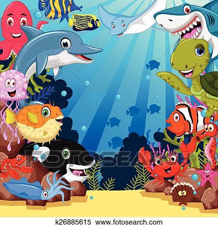 Clipart of sea life cartoon set k26885615 - Search Clip ...