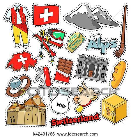 Clip Art Of Switzerland Travel Scrapbook Stickers Patches Badges