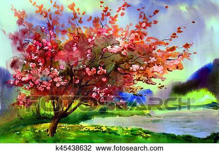 Tableau Aquarelle Paysage A Fleurir Printemps Arbre A Flowers Banque D Image K45438632 Fotosearch