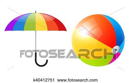 clipart vector objetos colorido pelota de playa y paraguas