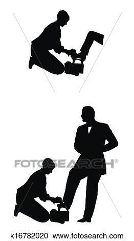 Klipart Ayakkabı Boyama Erkek çocuk Içinde Siluet K16782020