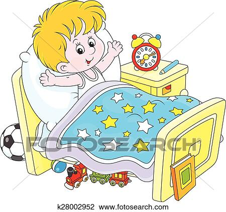 clipart of boy waking up k28002952 search clip art illustration rh fotosearch com waking up clipart get up clipart