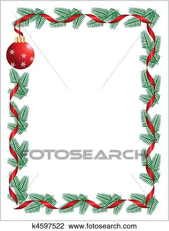 Christmas Wreath With Red Ribbon And Ball Greeting Card Template 2