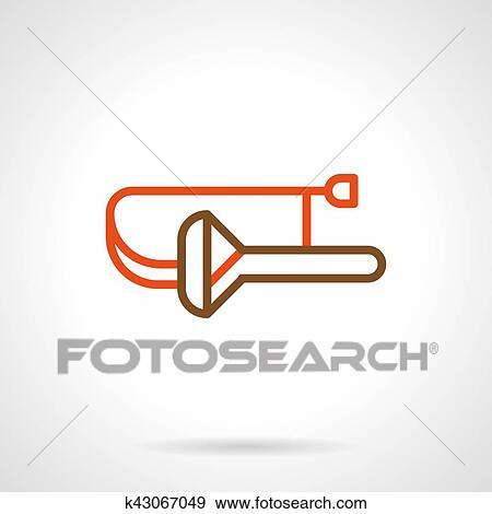 Clip Art - extracto, trombón, color, línea, vector, icono k43067049 ...