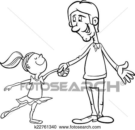 Clipart of father and daughter coloring page k22761340 - Search Clip Art, Illustration ...