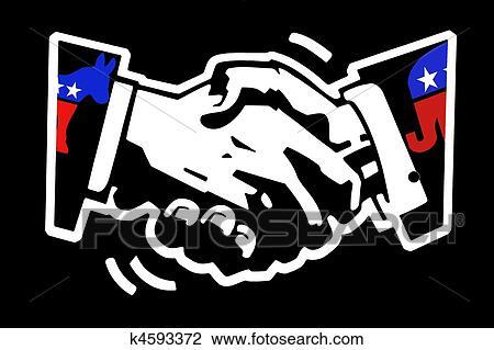 Clip Art Of Handshake Democrat And Republican K4593372 Search