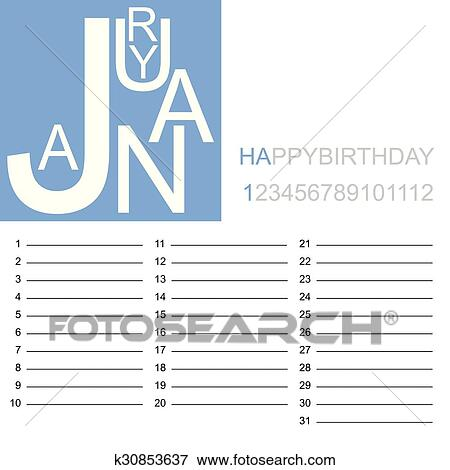 clip art jazzy birthday calendar january fotosearch search clipart illustration posters