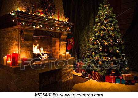 Living Room Interior With Decorated Fireplace And Christmas