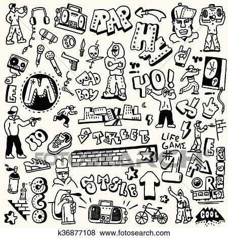 clip art of rap hip hop graffiti doodles set k36877108 search