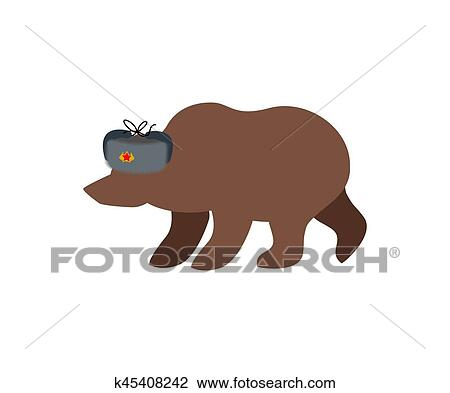 Clipart - Russian bear in fur hat. Russia National wild animal. Fotosearch  - Search 4c921026cb65